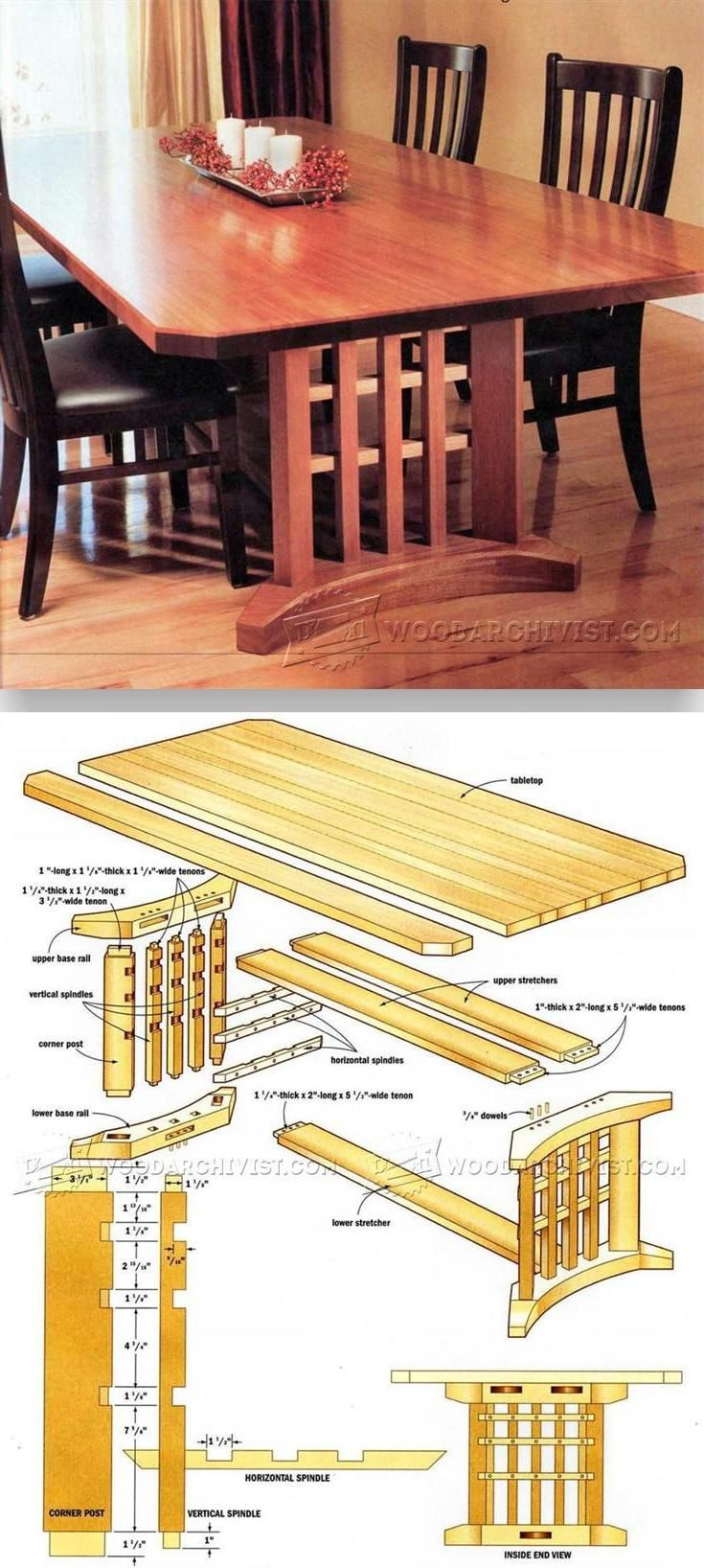 Louisiana cypress swings amp things inc - Trestle Table Plans Furniture Plans And Projects Woodarchivist Com
