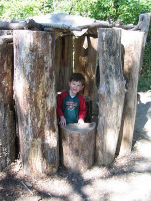 An inspiring article about creating irresistible outdoor play spaces for children. I love this little hide-away made from logs.