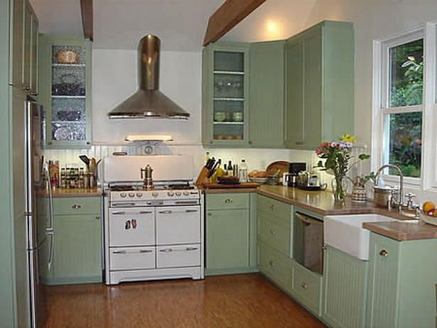 488 best coastal home images on pinterest home for Sage green kitchen cabinets with white appliances