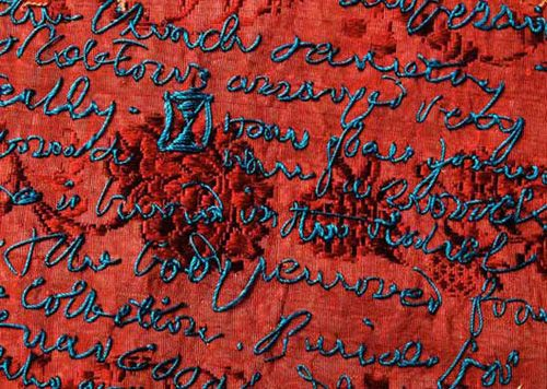 Embroidered by Rosalind Wyatt during an 1853 journey while visiting European asylums