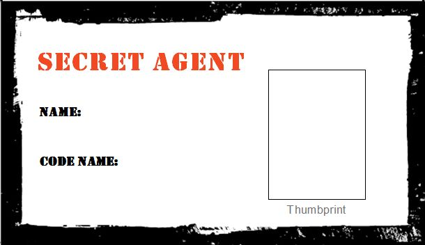 Secret agent id cards spy party pinterest training for Spy id card template