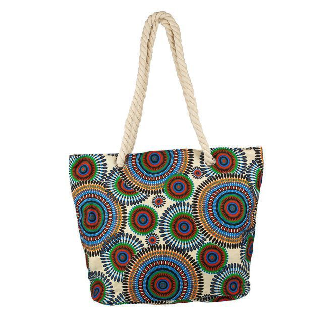 Lux Accessories Extra Large Zip Up Beach Tote Bag Multi color Circles #LuxAccessories #TotesShoppers
