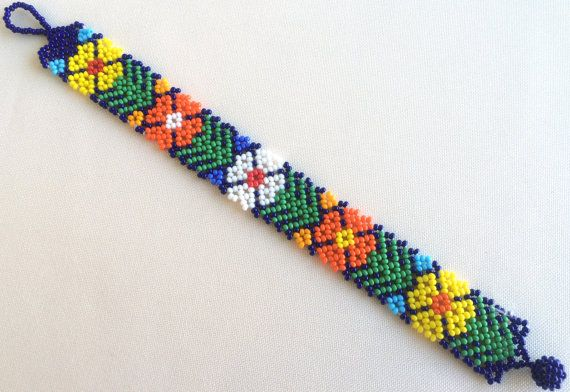 Mexican Huichol Beaded Flower Bracelet by Aramara on Etsy