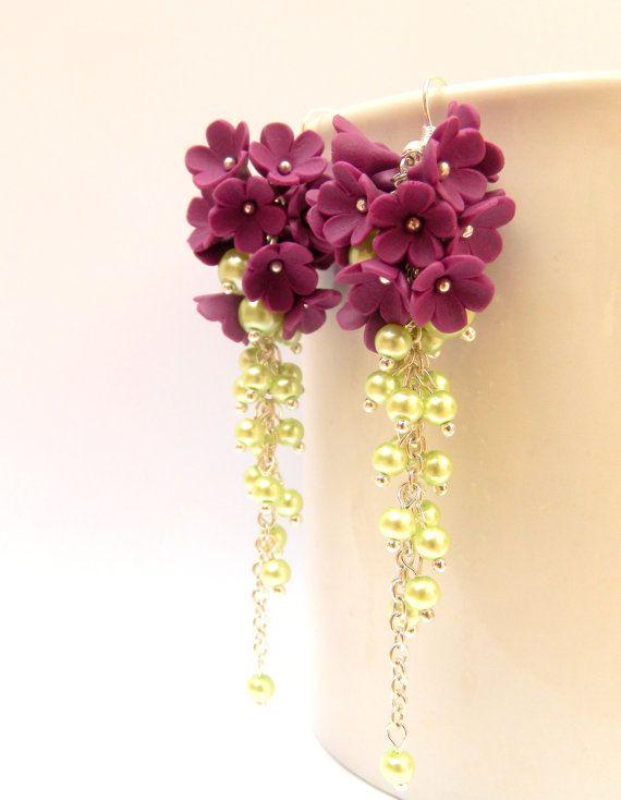 Fiore orecchini orecchini sposa orecchini viola di insoujewelry