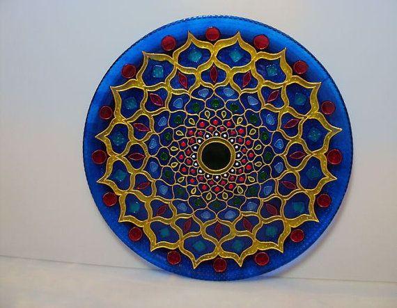 Декоративная тарелка на стену Мандала от Stainedglasss500 на Etsy
