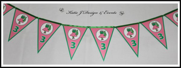 Banner Bunting #Dorothy #Dinosaur #Wiggles #Birthday #Bunting #Party #Ideas #Decorations #Ideas #Banners #Cupcakes #WallDisplay #PopTop #JuiceLabels #PartyBags #Invites #KatieJDesignAndEvents #Personalised #Creative