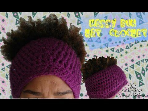 Como tejer un gorro para cola de caballo - Messy Bun hat A Ganchillo/Crochet - YouTube