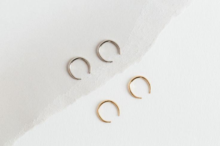 Mini Rising Tusk Earrings in Yellow Gold /