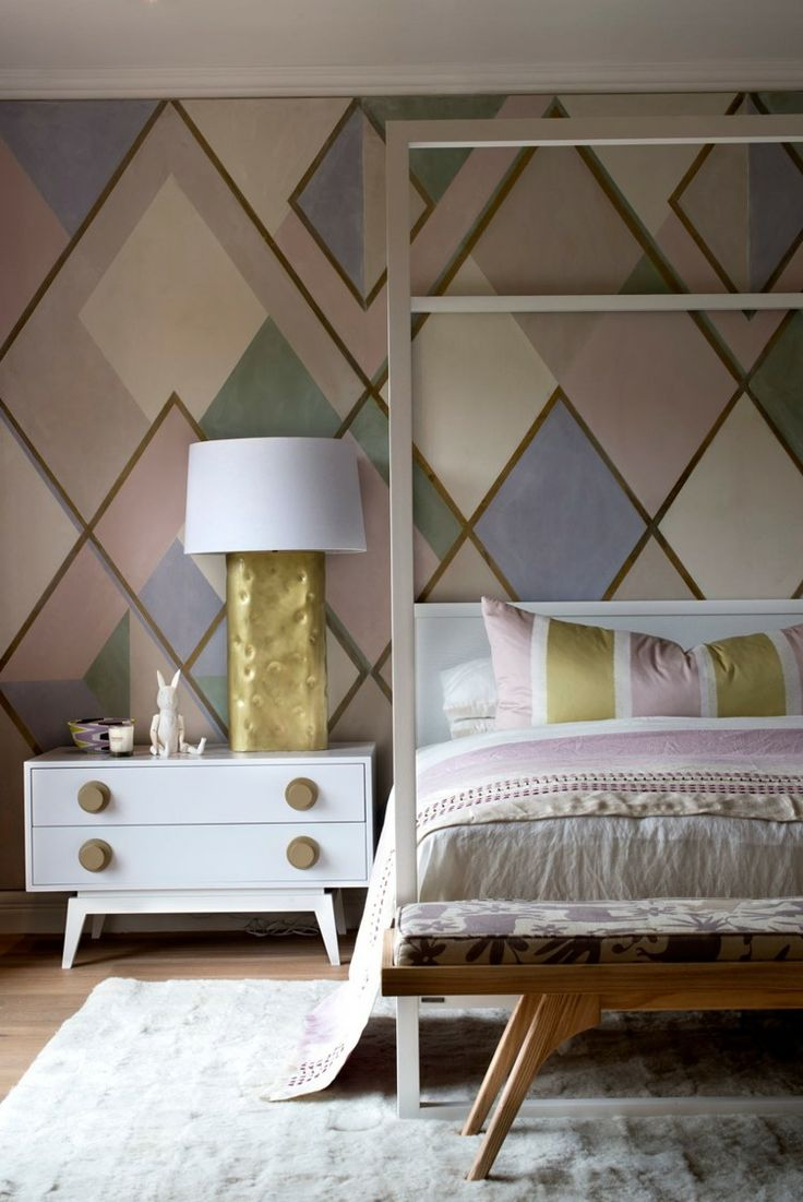 Michele Throssell Interiors > Bedroom > Geometric Design > Canopy Bed > Gold Lamp