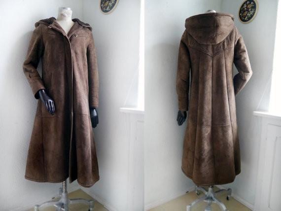 Vintage Sheepskin Afghan Suede COAT 60s/70s with Hoody