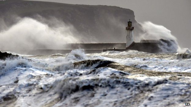 12/10/2014 - 'Weather bomb' hits power and travel in northern UK.  45 foot swells, multiple ferry cancellations and facility closures.