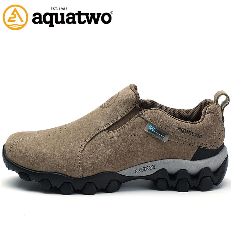 AQUA TWO High Quality Men's Suede Leather Outdoor Trekking Hiking Shoes For Men Breathable Climbing Mountain Shoes Man Wearable