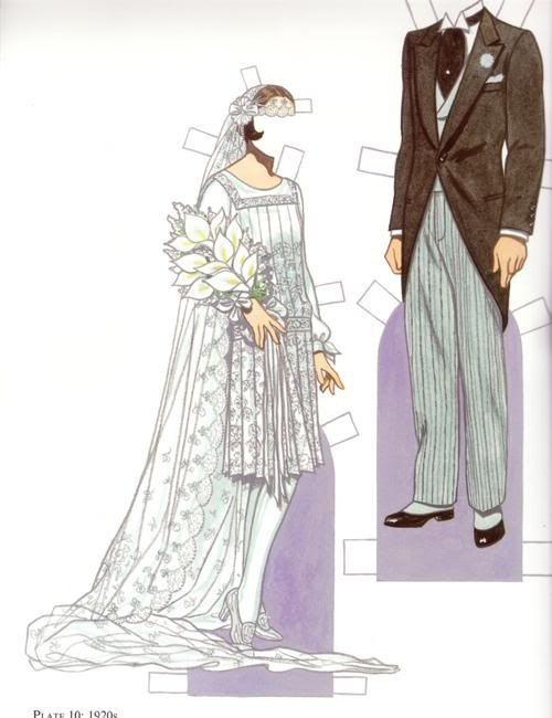 """Bride & Groom 1920s*1500 free paper dolls at Arielle Gabriel""""s The International Paper Doll Society and free Chinese Japanese paper dolls at The China Adventures of Arielle Gabriel *"""