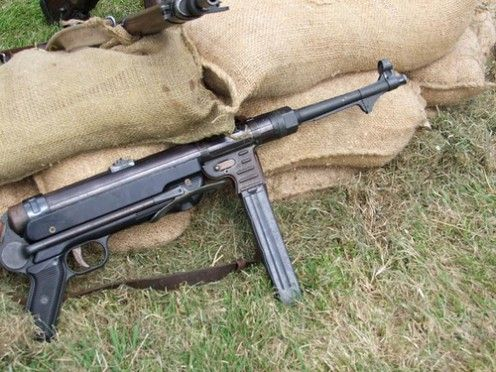 A German MP40. One of the deadliest weapons of all time. It shot bigger cartridges then most sub machine guns.
