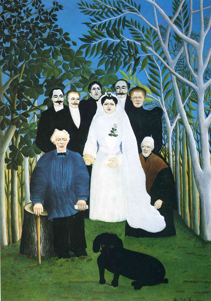 """While I'm on my honeymoon, enjoy this #WeddingWeek post!  Can you find Henri Rousseau? He's right behind the bride, with the mustache.  Rousseau did not train in art. He was a customs officer. Painting was a hobby and he usually painted on a Sunday, his only day off.   The stiff, unnatural poses of his subjects in """"The Wedding Party"""" did not please many art critics who disliked his Naïve style. The bride seems almost to be floating above the ground.   On view at Musée de l'Orangerie in…"""