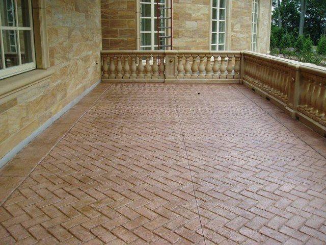 herrigbone concrete stamp pattern bk100 by qc concrete - Concrete Tile Garden Decor
