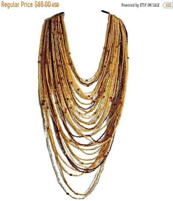 Seed bead multi strand statement necklace