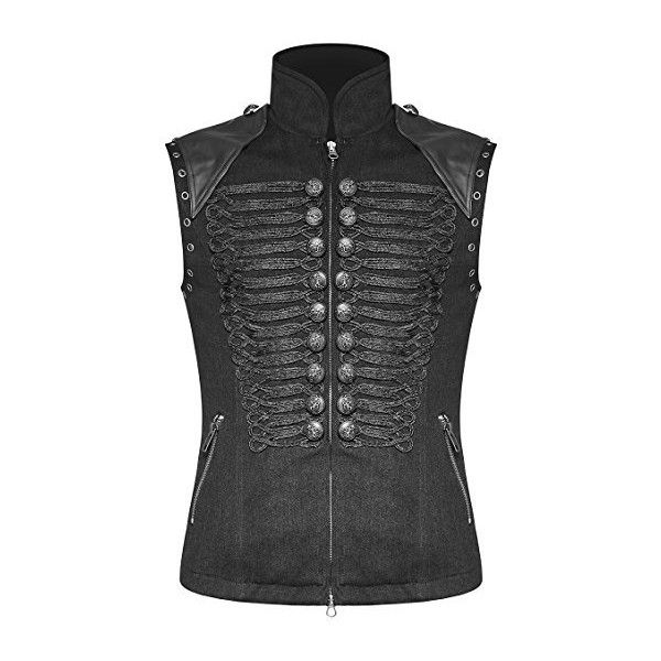 Punk Rave Mens Military Vest Waistcoat Black Gothic Steampunk... (€96) ❤ liked on Polyvore featuring men's fashion, men's clothing, vintage men's fashion, steampunk mens clothing, mens clothing and gothic mens clothing