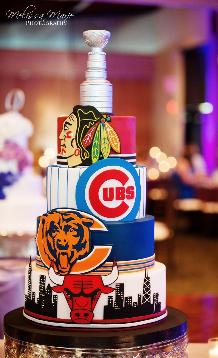 Amy Beck Cake Design - Chicago, IL | Chicago sports teams grooms cake | Melissa Marie Photography melissamariephoto... | www.amybeckcakede... | Chicago Bulls, Chicago Blackhawks, Chicago Cubs, Chicago Bears