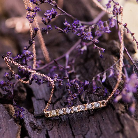 Mix Color Natural Diamonds Pendant Necklace in 14K Yellow and Rose Gold, Natural Diamonds Pendant, 14K Pink and Yellow Gold Necklace