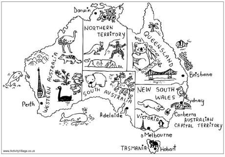 Australia map colouring page, free!