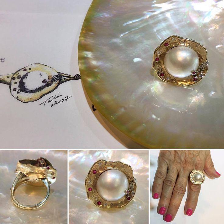 Custom redesigned mabé pearl ring! The perfect summer ring!  #BobThompsonJewellers #pearl #customdesign #yellowgold #shell #shesellsseashellsbytheseashore