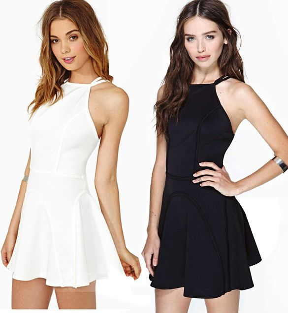 Black or White War. Mini Party Dress Backless