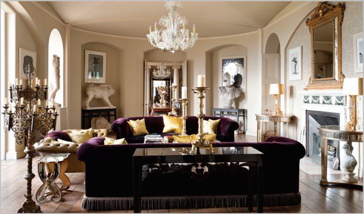 Living Room Decor Purple Velvet Exotic Sofa Chesterfield