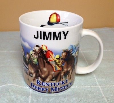 JIMMY NAME MUG, KENTUCKY DERBY MUSEUM, 12 oz. CUP, PERSONALIZED, KY, HORSE