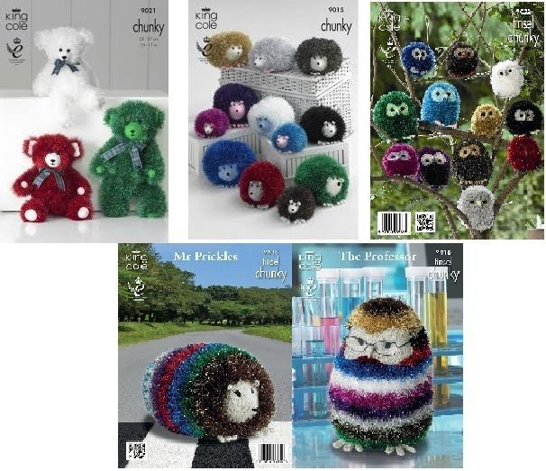 King Cole Tinsel Owl Knitting Pattern : Details about Tinsel Wool Patterns from King Cole, Owl, Hedgehog, Teddies, Pe...