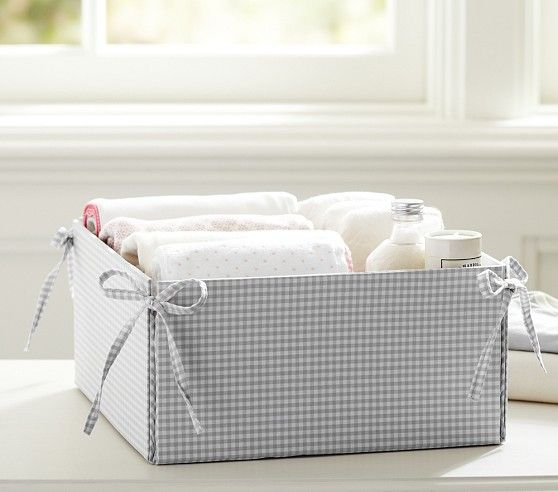 Gray Gingham Storage | Pottery Barn Kids