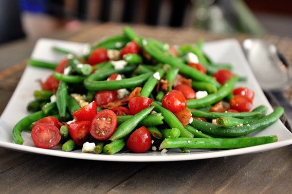 This fresh green bean salad with balsamic dressing is so bright and fresh and flavorful. It is the perfect summer side dish!