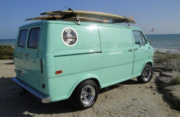 surfer renovated Seafoam 1974 Ford Econoline Van