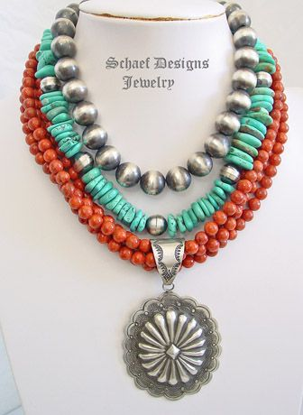 Schaef Designs Apple Coral 4 strand 8mm apple coral Southwestern necklace