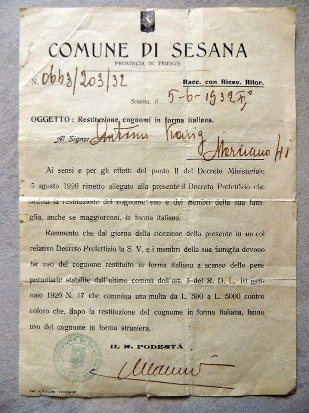 Se devi sostenere dei costi per ripristinare il cognome originario dopo l'italianizzazione forzata - AgoraVox Italia