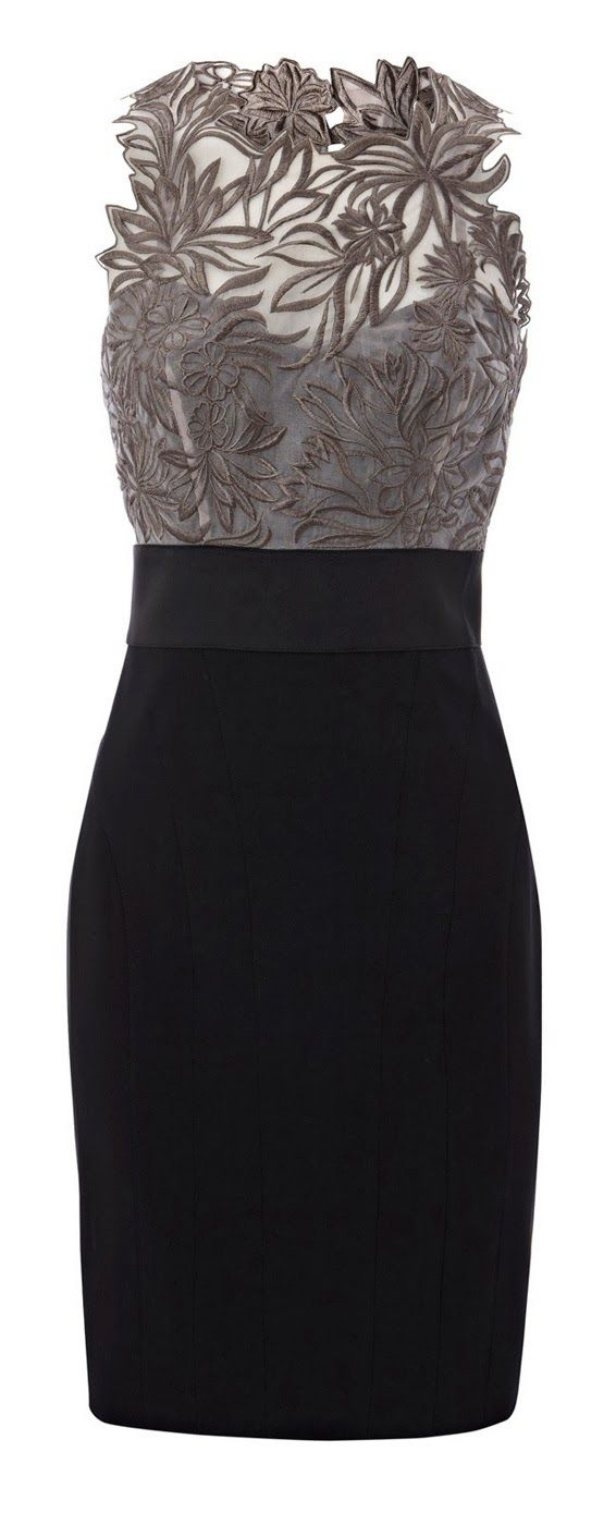 Grey floral embroidered black dress fashion - if there were any way I could wear this, I would.