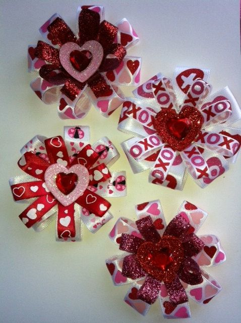 Valentine Mini Hair Bow by SprinklesOfGlitz on Etsy, $6.00