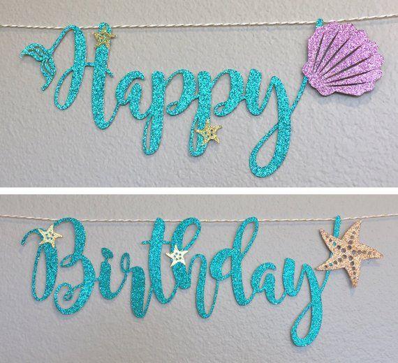 Customized Happy Birthday Banner Little Mermaid Ariel