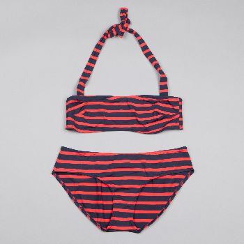 Petit Bateau Black & Red Stripe Bikini: You'll love this women's bikini with a bandeau-style top and high-cut bottom in Petit Bateau's favorite sailor stripe.   - The top ties behind the neck  - Fully lined to avoid transparency  Size Guide XS: UK size 6 S: UK size 8 M: UK size 10 L: UK size 12 XL: UK size 14