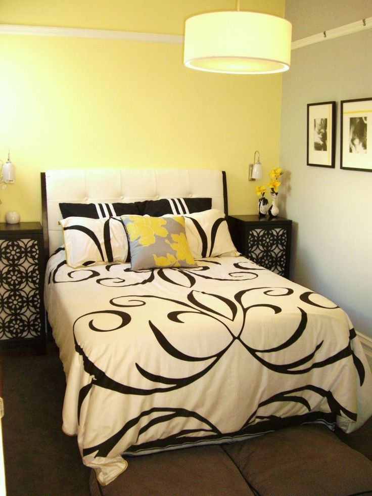 Bedroom Design Ideas Yellow black white and yellow bedroom