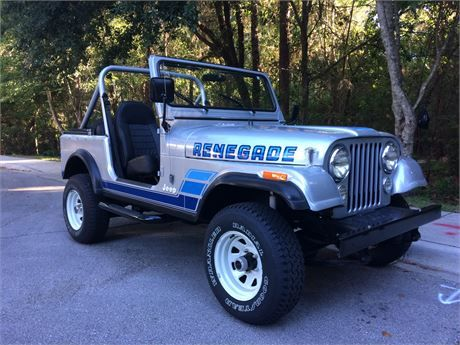 Beautiful example of a classic Jeep CJ-7 ready for fun. Original sheet metal with a frame-off restoration in 2014. Looks as it did back in 1985 with original wagon wheels and OEM Renegade decals. Pictures of original rot-free red color before the silver paint shows the clean metal body, free of patchwork. These rare intact bodies will last if cared for and not fall apart within a few years. Original straight 6 cylinder 258 engine  5 speed manual trans with 78,000 miles, runs strong  straight…