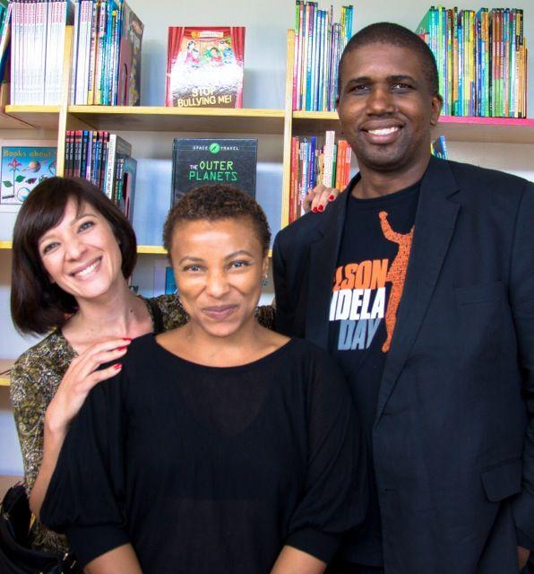 Jade and Puleng of Breadline Africa with Nelson Mandela Foundation representative