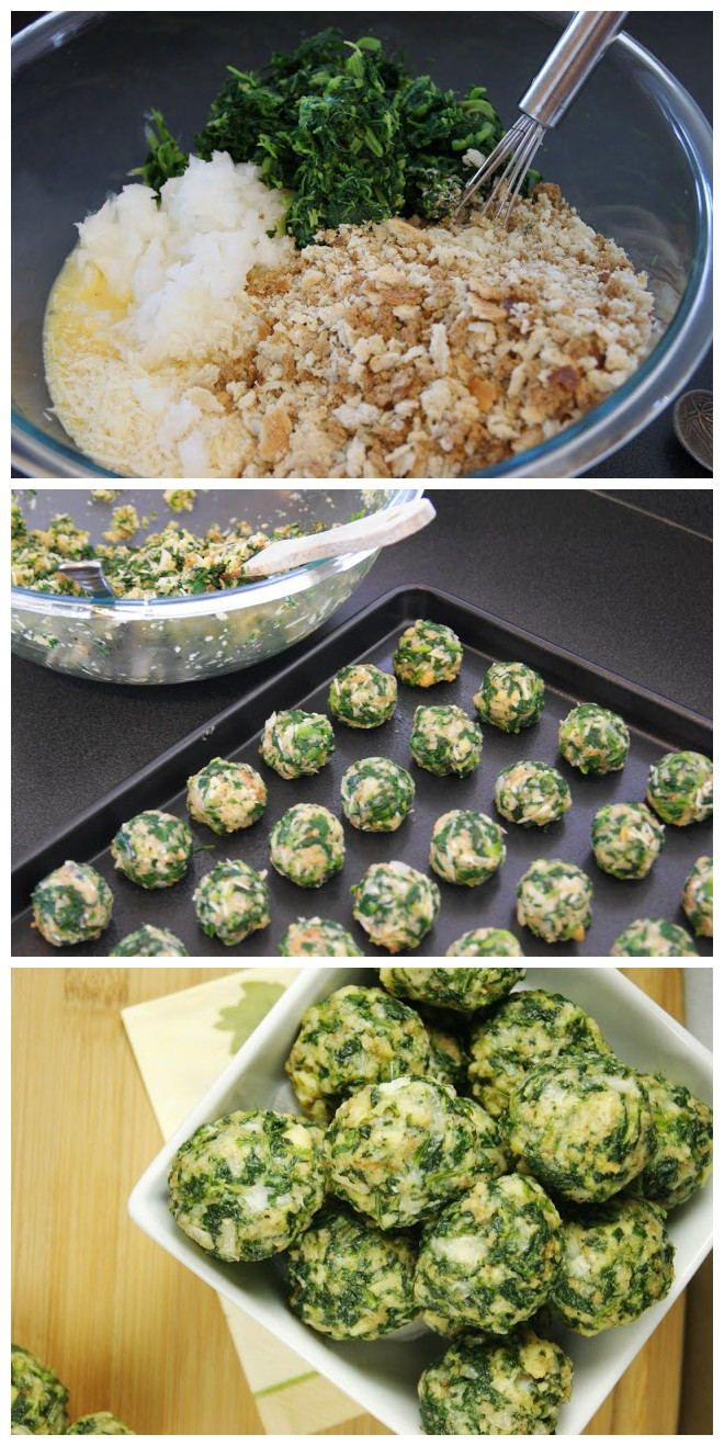 2 (10 oz.) packages frozen spinach, thawed & well-drained  2 small onions, very finely chopped  2 1/4 c. stuffing with herbs  6 eggs, beaten  1/2 c. melted butter  1/2 c. Parmesan cheese  2 tsp. garlic salt  1 tsp. black pepper  baking sheet sprayed with cooking spray    Bake at 350 for 20 minutes