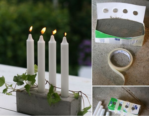 This project is so easy I don't even know what to say about it. You basically need a milk carton and some concrete mix. Cut along the side to make a flap lid and cut out holes large enough for the candles to fit inside. The rest doesn't need directions.{found on chezlarsson}.