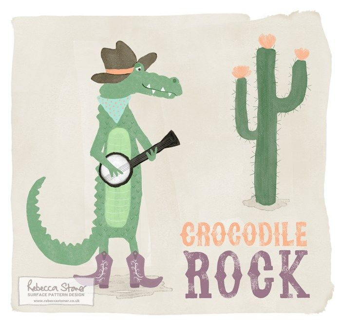Crocodile Rock by Rebecca Stoner #animalalphabet2016 #crocodile #kidsdesign #childrensdesign