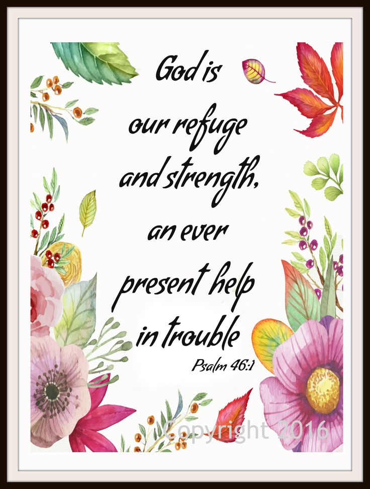 """Scripture Art Print """"God is Our Refuge"""", Wall Decor, 8 x 10"""" Unframed Motivational Quote"""