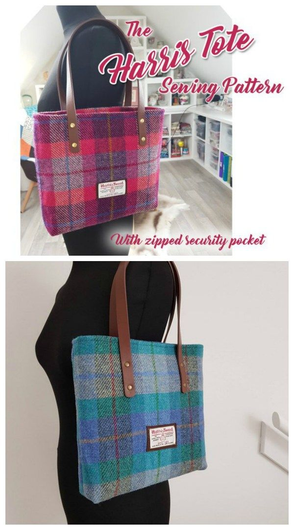 Tote Bag Sewing Pattern. Simple and classic but strong and stylish. This tote ba…