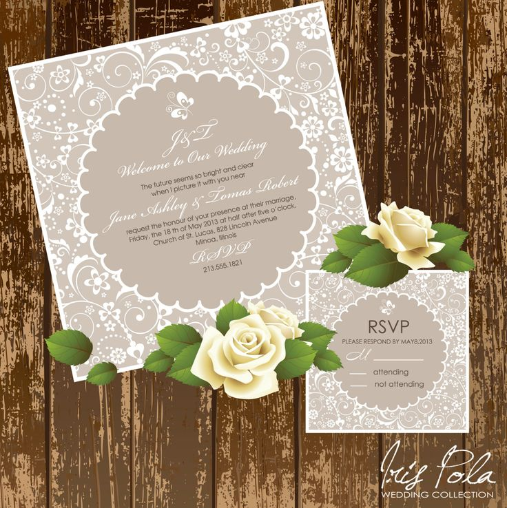 free printable0th wedding anniversary invitations%0A Items similar to PRINTABLE  Lace Flowers  Vintage wedding  Printable  Wedding Invitation on Etsy