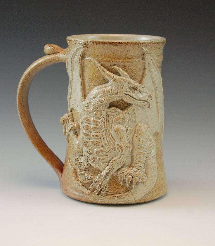Dragon Drinking Mug Handmade Clay Tankard Stein Pottery