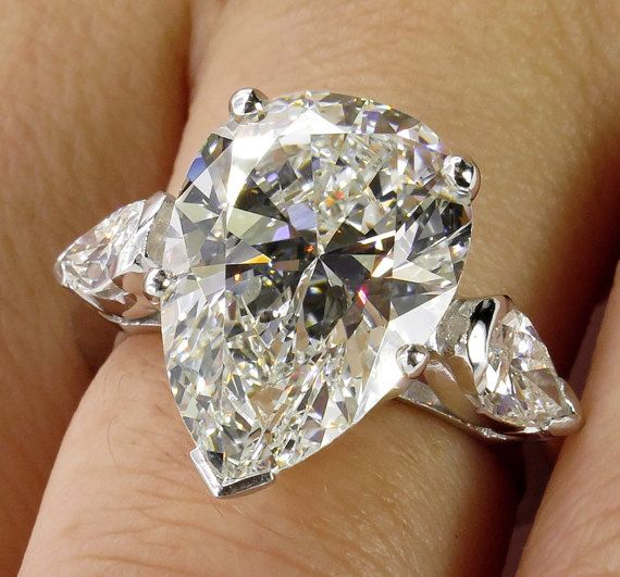 GIA Near Flawless 6.01ct Estate Vintage PEAR Shaped 3 Stone Diamond Engagement Wedding Platinum Ring